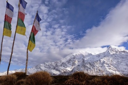 Prayer flags in high  mountains