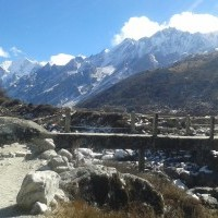 Langtang Valley Trek : bridge on the way to kyanjin and  snowcaped mountains on back drop.